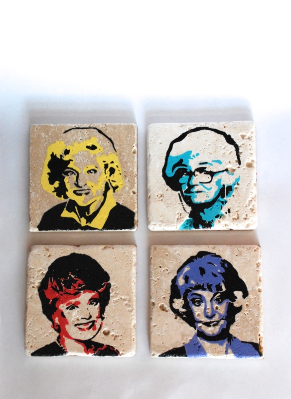 Golden Girls tile coaster set of 4 $20 + Shipping   https://www.etsy.com/listing/168759834/golden-girls-punk-rock-tile-coaster-set?
